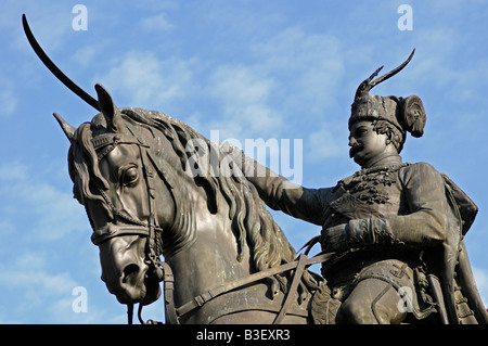 Statue of King Josip in the Main Square Ban Jelacic Zagreb Croatia - Stock Photo