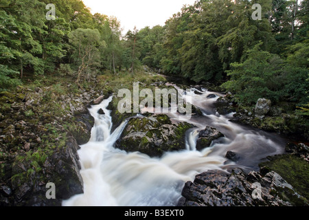 The waterfall on the River Feugh known as Falls of Feugh near Banchory, Aberdeenshire, Scotland UK where you can - Stock Photo