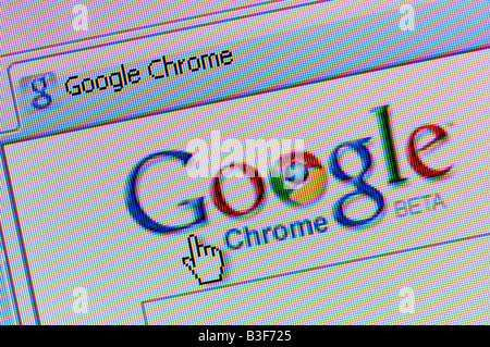 Macro screenshot of Google Chrome - the new web browser launched in September 2008 to challenge Microsoft's Internet - Stock Photo