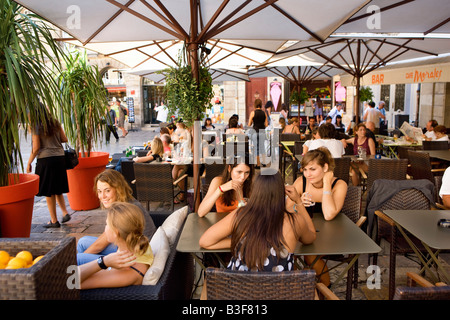 cafe in Place du Parlement in Bordeaux France - Stock Photo