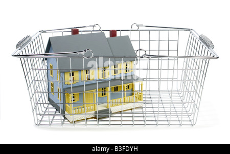 Shopping basket with doll house - Stock Photo