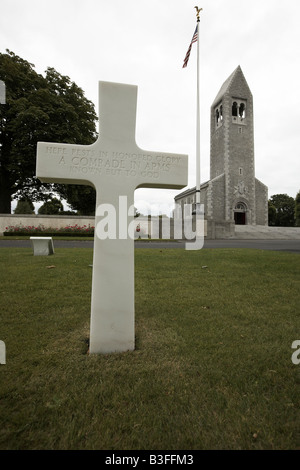 Grave of unknown soldier in the American cemetery and memorial St James Brittany France - Stock Photo