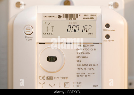 Digital electricity meter of the company Vattenfall - Stock Photo