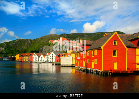 wooden houses colourful historic trade and warehouses in Bergen Bergen Norway - Stock Photo