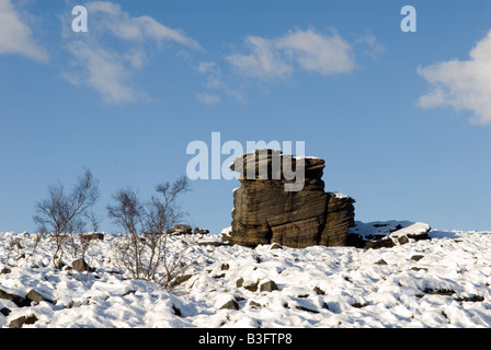 'Mother Cap' in winter snow on moorland in Derbyshire  'Great Britain' - Stock Photo