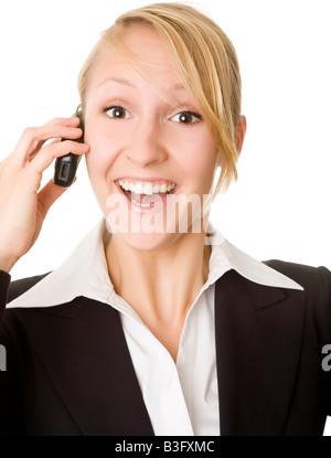 exultant businesswoman - Stock Photo