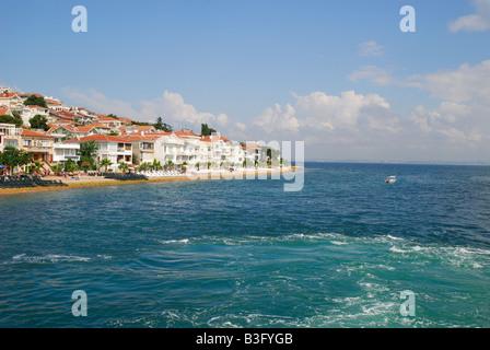 ISTANBUL, TURKEY. A sea view of Kinaliada, one of the Princes' Islands in the Sea of Marmara. 2008. - Stock Photo