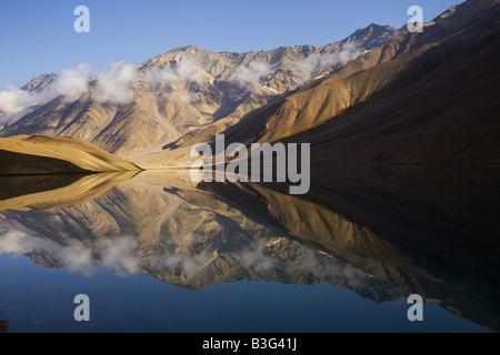 Chandra Taal (Moon Lake), a high altitude lake in the Lahaul & Spiti district of Himachal Pradesh. India - Stock Photo