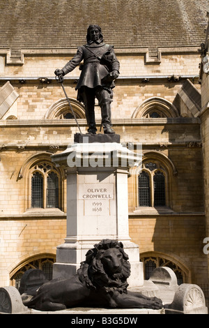 The statue of Oliver Cromwell (1599-1658) that stands outside of the Houses of Parliament in Westminster, England. - Stock Photo