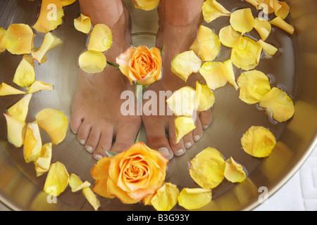 DEU Germany Ruegen Sellin Hotel Bernstein Wellness Ambra Spa Feet bath - Stock Photo