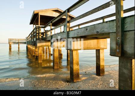 The popular fishing pier on Sanibel Island Florida - Stock Photo