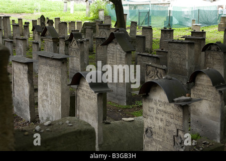 Gravestones in the Old Jewish Cemetery in Krakow Poland - Stock Photo