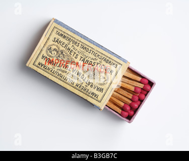 Old box of safety matches manufactured in Tampere Finland in 19th century - Stock Photo