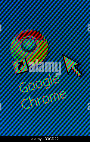 Macro screenshot of Google Chrome desktop icon - the new web browser launched in September 2008 to take on Internet - Stock Photo