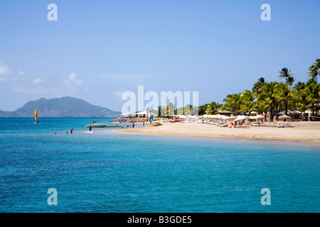 Stunning Pinneys beach with Coconut Palms at Nevis in the Caribbean - Stock Photo