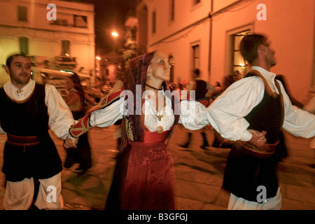 Italy Sardinia Olbia dance performance with traditional costumes - Stock Photo