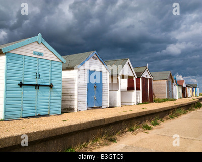Beach huts at Chapel St Leonards beach, Lincolnshire, England, UK - Stock Photo