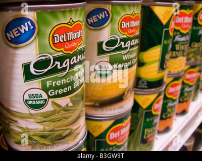 Cans of Del Monte Foods canned vegetables are seen on a supermarket shelf in New York Richard B Levine - Stock Photo
