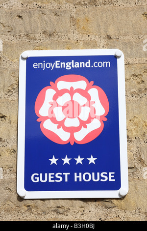 Enjoy England membership sign on a 4 star guest house in England, U.K. - Stock Photo