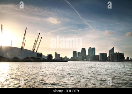 sunset over the O2 arena - Stock Photo