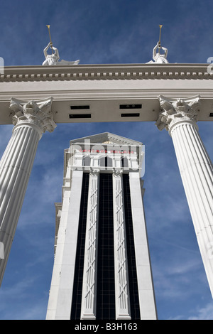 The entrance gate to Caesars Palace in Las Vegas - Stock Photo