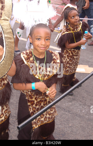 Children performing at Notting hill Carnival August 2008, London, England, Uk - Stock Photo