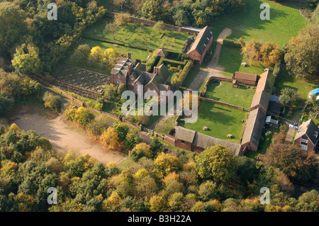 An aerial view of Moseley Old Hall near Wolverhampton - Stock Photo