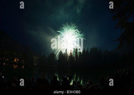 Fireworks on Canada Day in Banff Alberta - Stock Photo