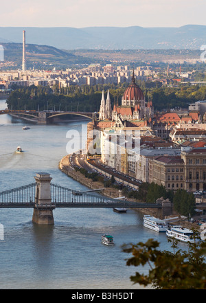 Budapest, view of River Danube and parliament building and surrounding area seen from Gellert Hill - Stock Photo