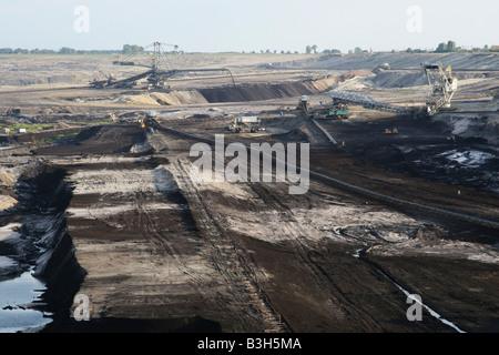 Brown coal opencast mine near Konin. Poland. - Stock Photo