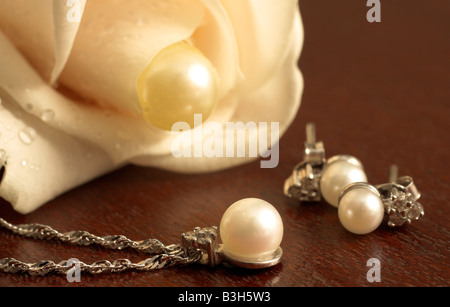 Wedding Jewelry on a dark wooden table with white rose in the background - Stock Photo