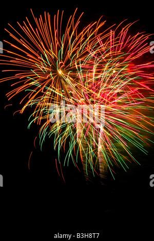 Firework display, dark sky, colourful, green, red, yellow, white, festival, extravaganza, celebration, - Stock Photo