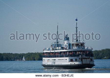 Passenger ferry on way to Toronto Islands Park in summer in Toronto Ontario Canada - Stock Photo