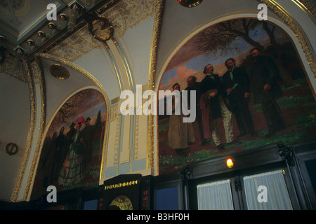 Two frescos Bohemian Spring by Max Svabinsky in the Riegr Hall of the Municipal House in Prague, Czech Republic - Stock Photo
