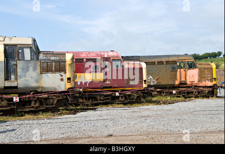 Scrapped Diesel Locomotives at West Coast Railway Company's Carnforth Depot. - Stock Photo