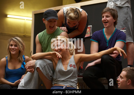 Cast members of High School Musical rehearse their song and dance routines at the Dance Attic, Fulham, London - Stock Photo