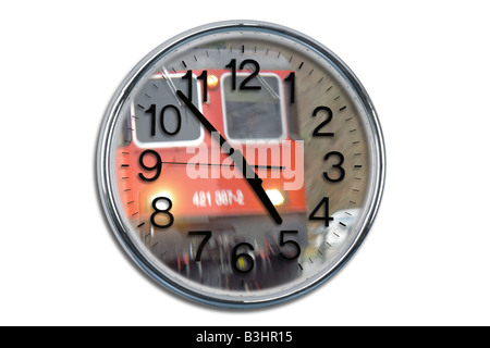 railway and a clock - Stock Photo