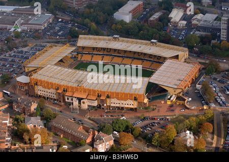 An aerial view of Molineux Stadium home of Wolverhampton Wanderers Football Club in Waterloo Road - Stock Photo