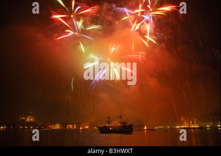 Firework display in the bay of Venice, Italy - Stock Photo