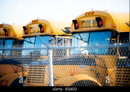 Several buses lined up in a depot ready for the school season. - Stock Photo