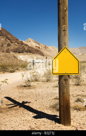 Blank sign, Goldwell Open Air Gallery in Rhyolite, Nevada, USA. - Stock Photo