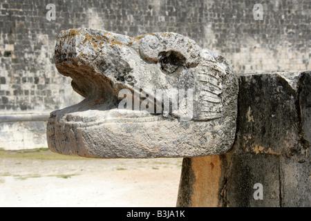 Serpent's Head at the Great Ballcourt, Juego de Pelota, Chichen Itza, Yucatan Peninsular, Mexico - Stock Photo