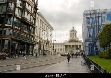 Sainte Jacques sur Coudenberg Brussels Belgium. Royal Palace in the background - Stock Photo