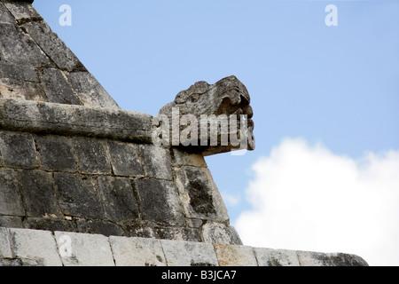 Serpent's Head on the Entrance to the Great Ballcourt, Juego Pelota, Chichen Itza, Yucatan Peninsular, Mexico - Stock Photo