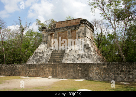 North Temple aka Temple of the Bearded Man at the North End of the Great Ballcourt, Juego Pelota, Chichen Itza, - Stock Photo