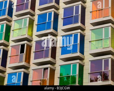 Colourful window boxes of the Hesperia Hotel Bilbao. - Stock Photo