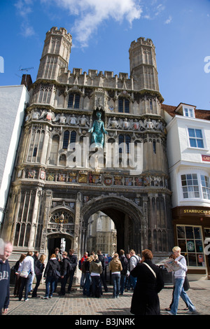 ... Tourists Congregating Outside The Gated Entrance To Canterbury  Cathedral   Stock Photo