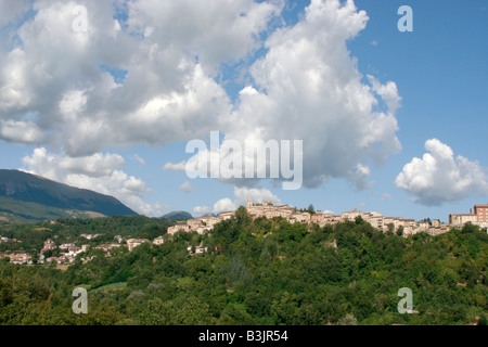 Wide skies over Amandola in  Le Marche in Italy - Stock Photo