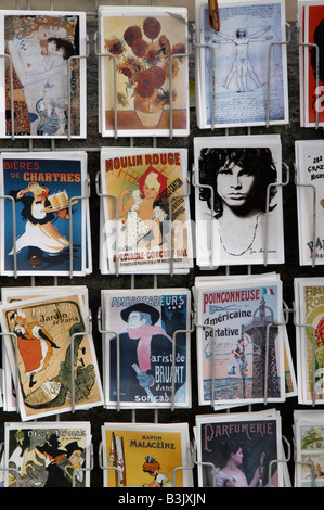 Postcards for sale along the Seine river in Paris. - Stock Photo