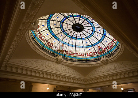 Boldt Castle stained Glass Dome Detail: Lighting the central stair this large dome is four stories above the entrance - Stock Photo